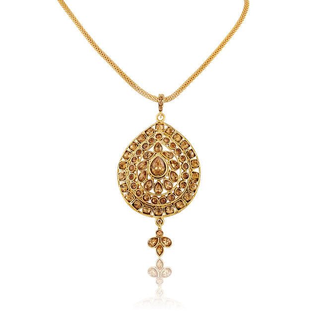 French Loops Ethnic Gold Stone Studded Pendant & Earrings Traditional Indian Jewelry Set For Women and Girls