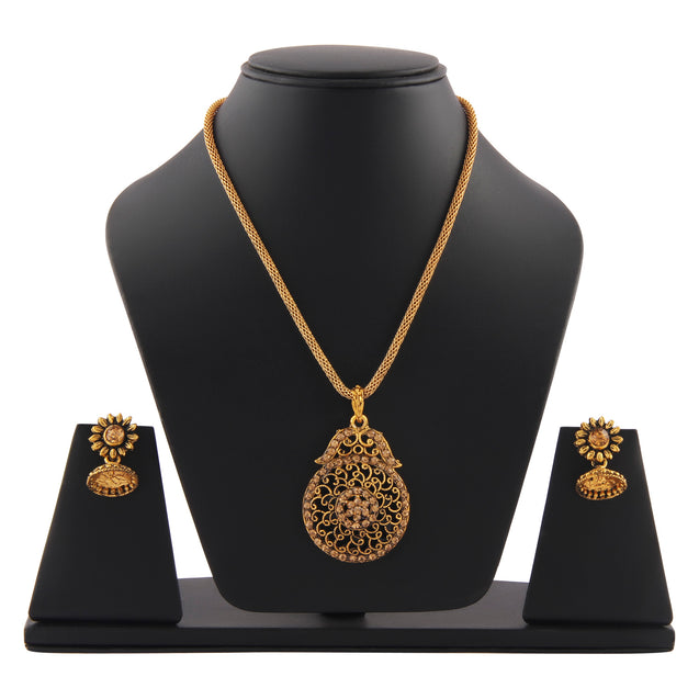 French Loops Ethnic Dark Color Golden Pendant Earrings Traditional Indian Jewelry Set For Women and Girls