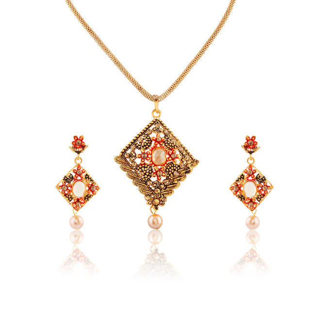 French Loops Ethnic High  Fashion Red & Golden Pendant Earrings Traditional Indian Jewelry Set For Women and Girls