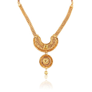 French Loops Ethnic Gold Thread Necklace Golden Pendant Earrings Traditional Indian Jewelry Set For Women and Girls