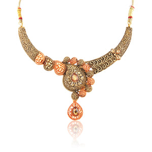 French Loops Ethnic Modern Maharani Necklace Red & Golden Hues Earrings Traditional Indian Jewelry Set For Women and Girls