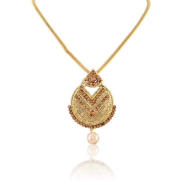 French Loops Ethnic Auspicious Triangle Symbol Golden Pendant Earrings & Maang Tikka Traditional Indian Jewelry Set For Women and Girls