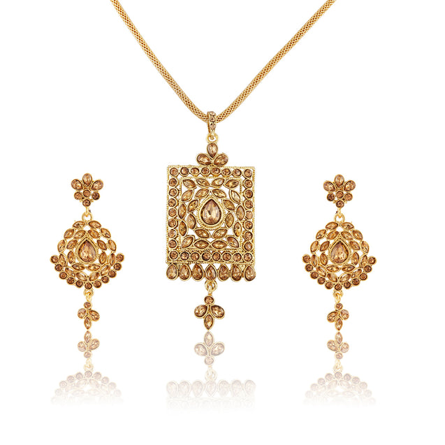 French Loops Ethnic Holy Symbols Golden Stone Studded Pendant Earrings Traditional Indian Jewelry Set For Women and Girls