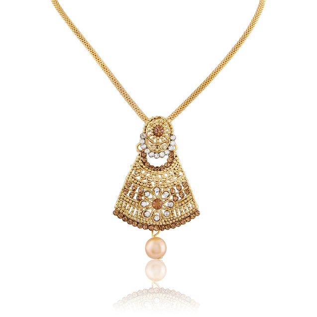 French Loops Shubh Shapes Thick Chain Golden Pendant Earrings & Maang Tikka Traditional Indian Jewelry Set For Women and Girls