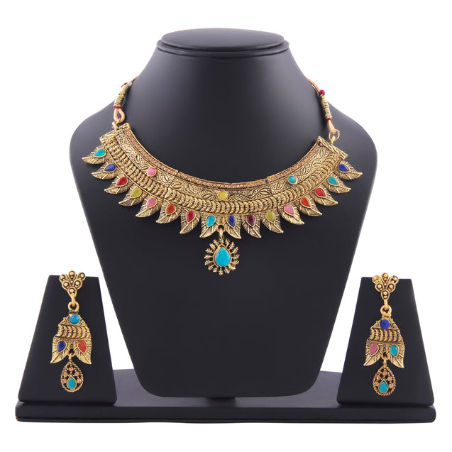 French Loops Ethnic Multi Color Necklace Golden Pendant Earrings & Maang Tikka Traditional Jewelry Set For Women and Girls