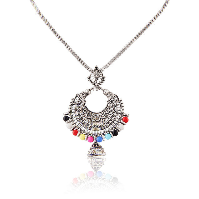 French Loops Ethnic Silver Multi Color Pendant Earrings Traditional Indian Jewelry Set For Women and Girls