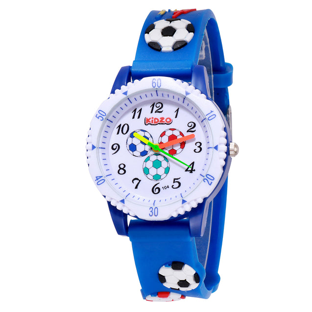 Kidzo Football Fan Blue Analog Kids Wrist Watch With 3D Strap