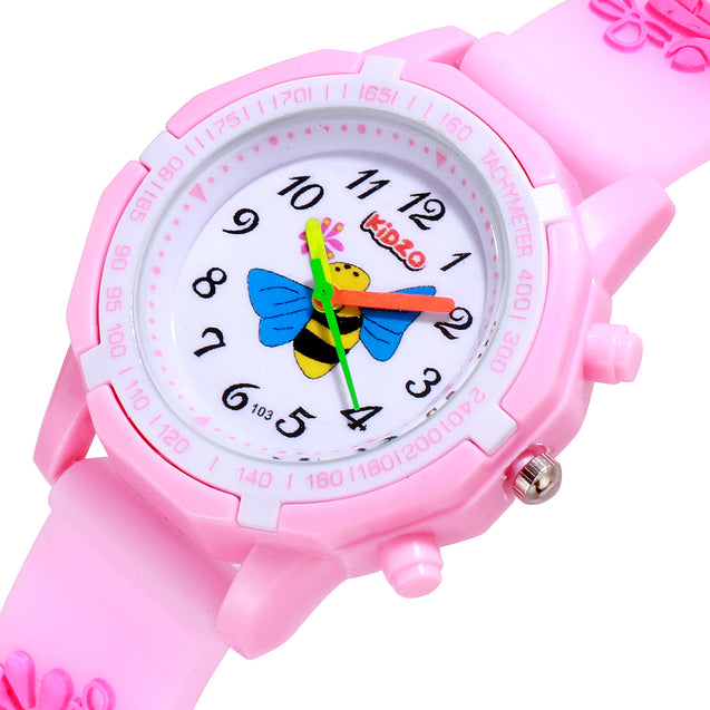 Kidzo Bubbly Bee Baby Pink Girls Analog Wrist Watch With 3D Strap