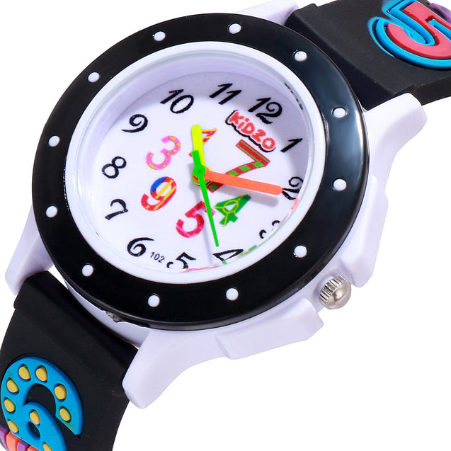 Kidzo Cool Numbers Black Kids Analog Wrist Watch With 3D Strap