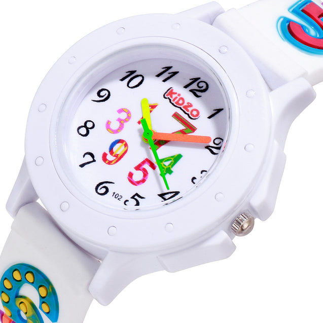 Kidzo Cool Numbers White Kids Analog Wrist Watch With 3D Strap