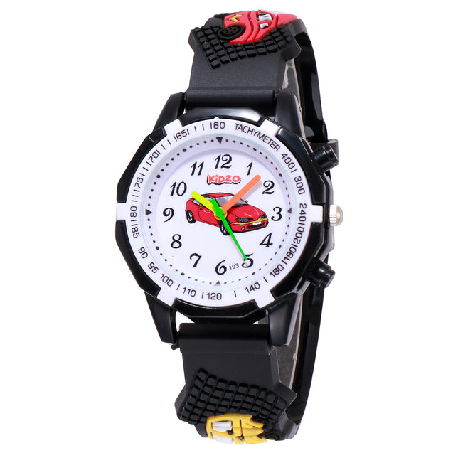 Kidzo Super Car Black Boys Analog Wrist Watch With 3D Strap