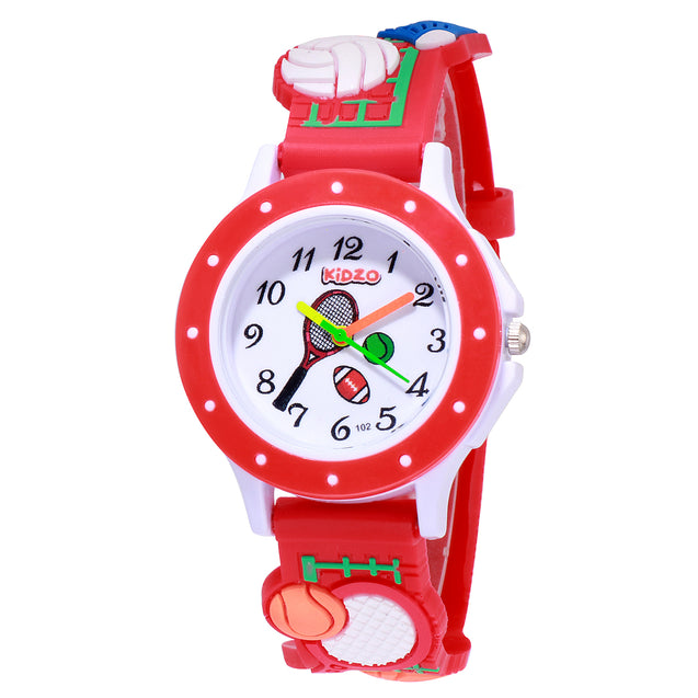 Kidzo Sports Champion Red Kids Analog Wrist Watch With 3D Strap