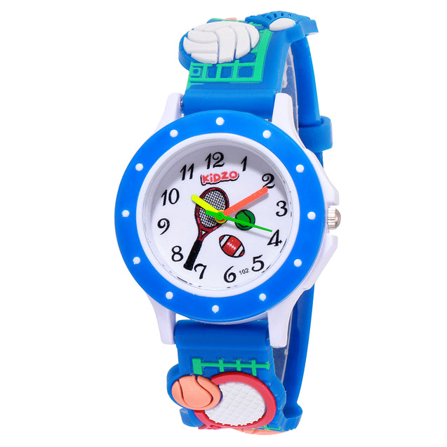 Kidzo Sports Champion Blue Boys Analog Wrist Watch With 3D Strap