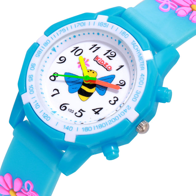 Kidzo Bubbly Bee Sky Blue Girls Analog Wrist Watch With 3D Strap