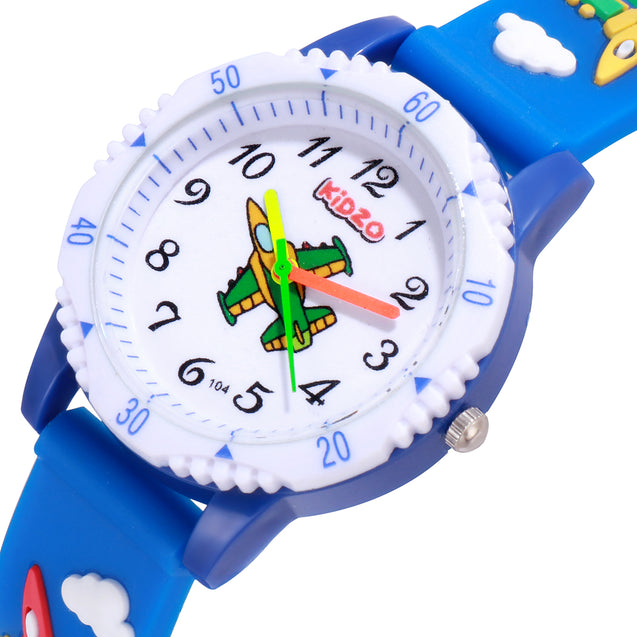 Kidzo Jet Figter Blue Boys Analog Wrist Watch With 3D Strap