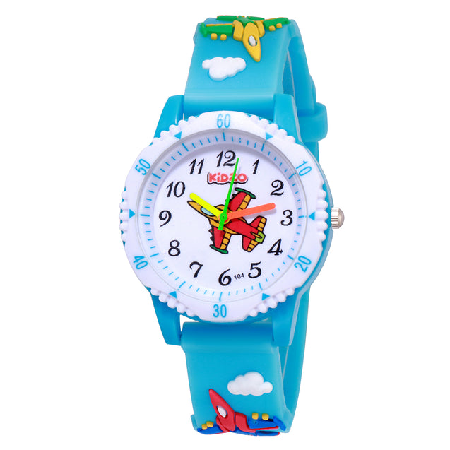 Kidzo Jet Figter Sky Blue Boys Analog Wrist Watch With 3D Strap