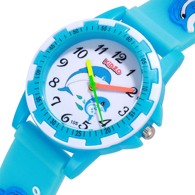 Kidzo Dolphin Buddies Sky Blue Analog Kids Wrist Watch With 3D Strap