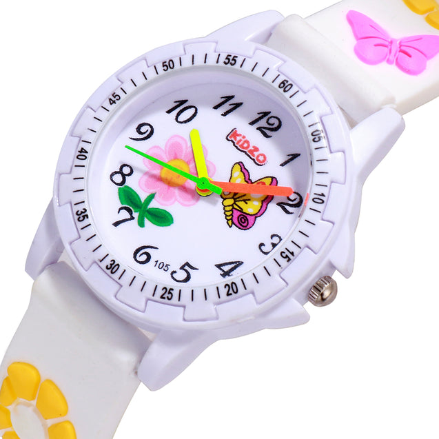 Kidzo Pretty Butterfly White Analog Girls Wrist Watch With 3D Strap