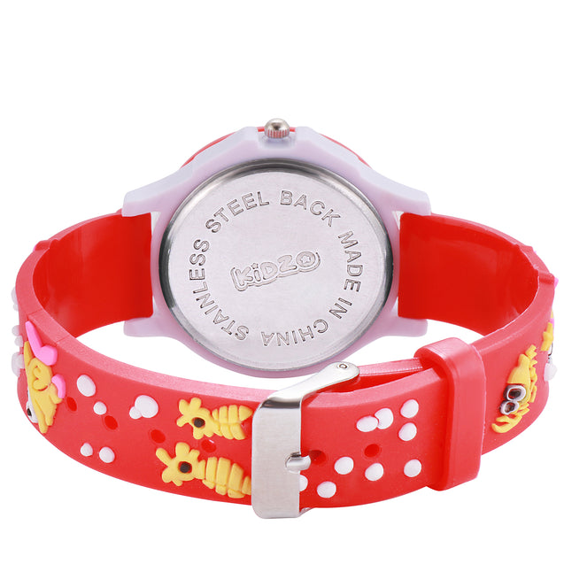 Kidzo Something Fishy Red Kids Analog Wrist Watch With 3D Strap