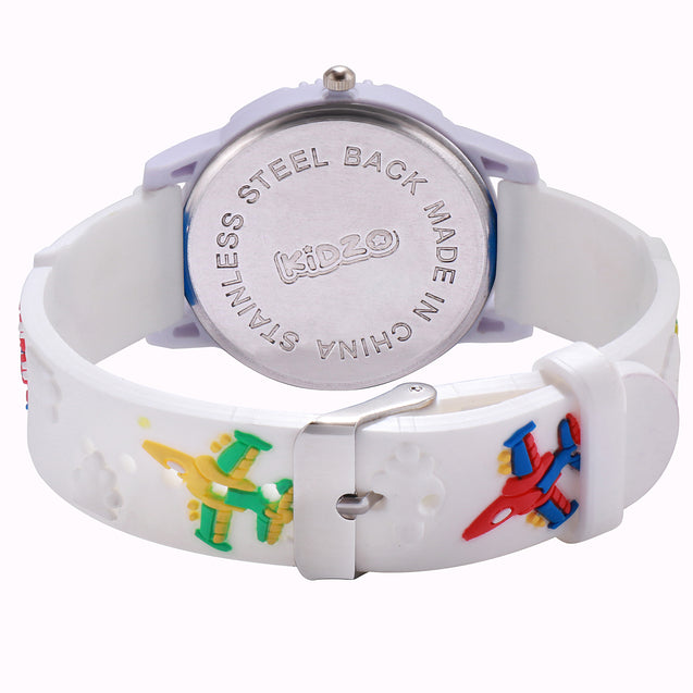 Kidzo Jet Figter White Boys Analog Wrist Watch With 3D Strap