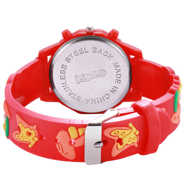 Kidzo Moldy Mushrooms Red Analog Kids Wrist Watch With 3D Strap