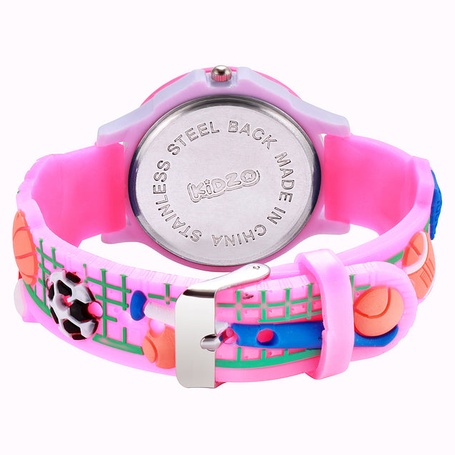 Kidzo Sports Champion Girls Baby Pink Analog Wrist Watch With 3D Strap