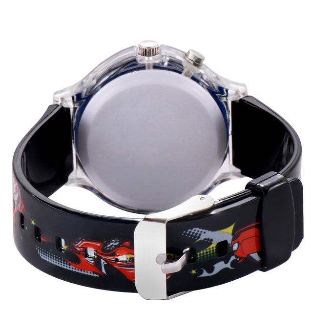 Kidzo Race Car Black Boys Analog Wrist Watch With Push Button Light