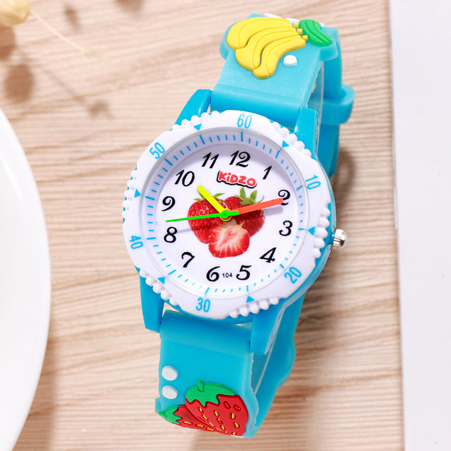 Kidzo Strawberry & Friends Blue Kids Analog Wrist Watch With 3D Strap