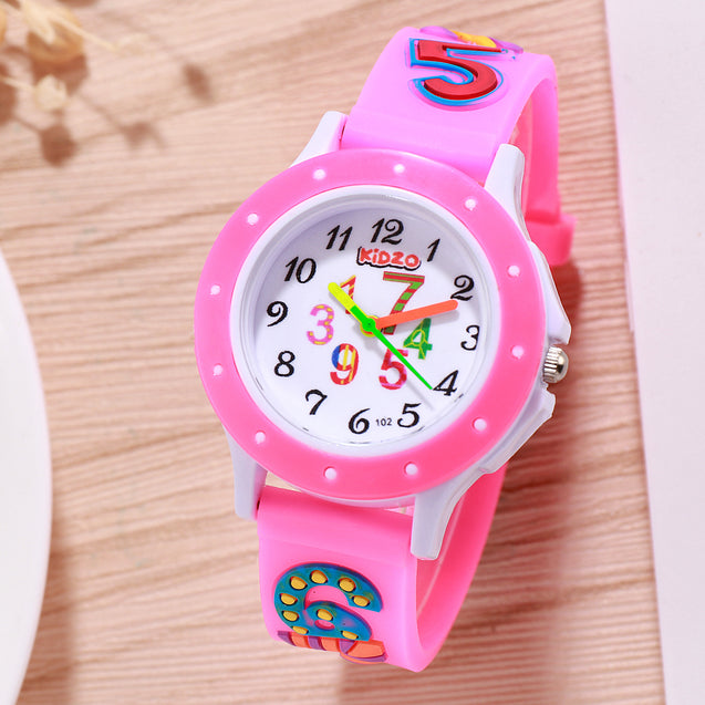 Kidzo Cool Numbers Baby Pink Girls Analog Wrist Watch With 3D Strap