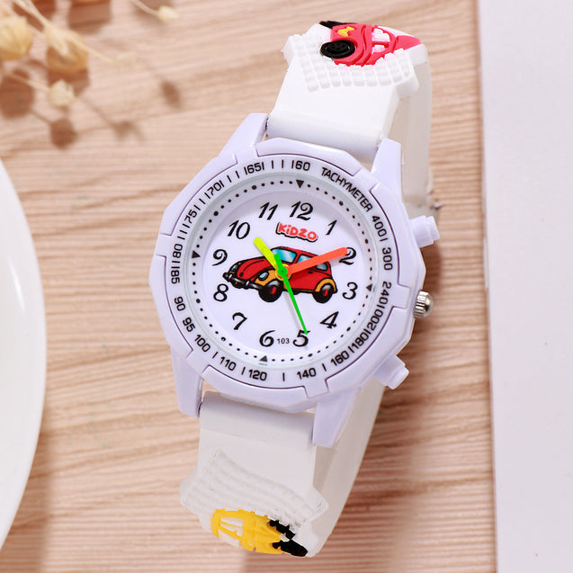 Kidzo Toon Cab White Analog Kids Wrist Watch With 3D Strap