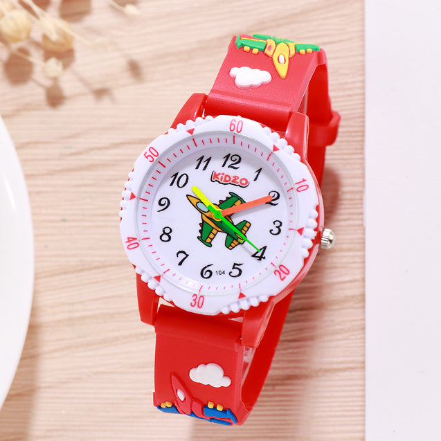 Kidzo Jet Figter Red Boys Analog Wrist Watch With 3D Strap