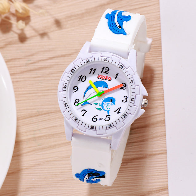 Kidzo Dolphin Buddies White Analog Kids Wrist Watch With 3D Strap
