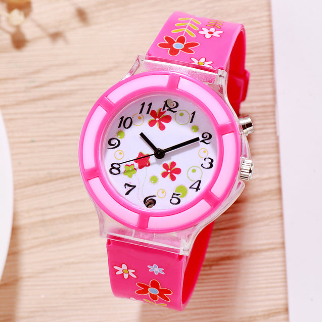 Kidzo Spring Flowers Pink Analog Girls Wrist Watch With Push Button Light
