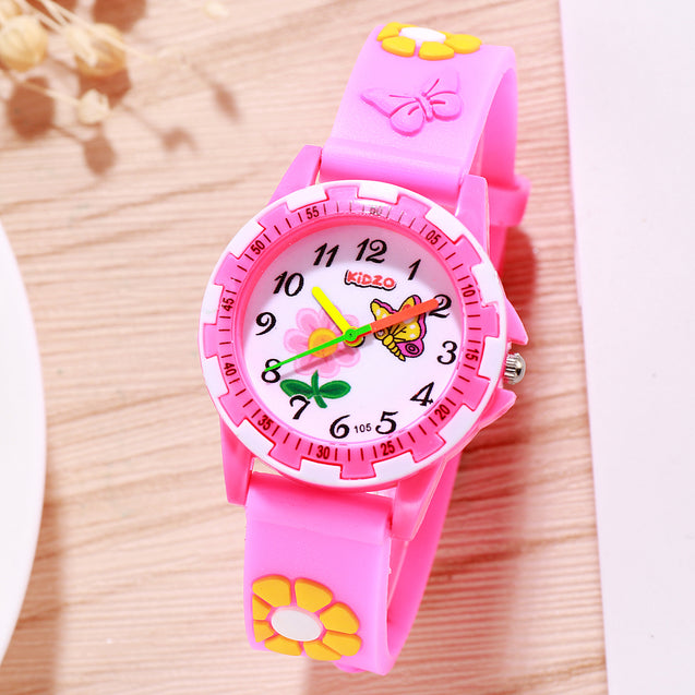 Kidzo Pretty Butterfly Pink Analog Girls Wrist Watch With 3D Strap