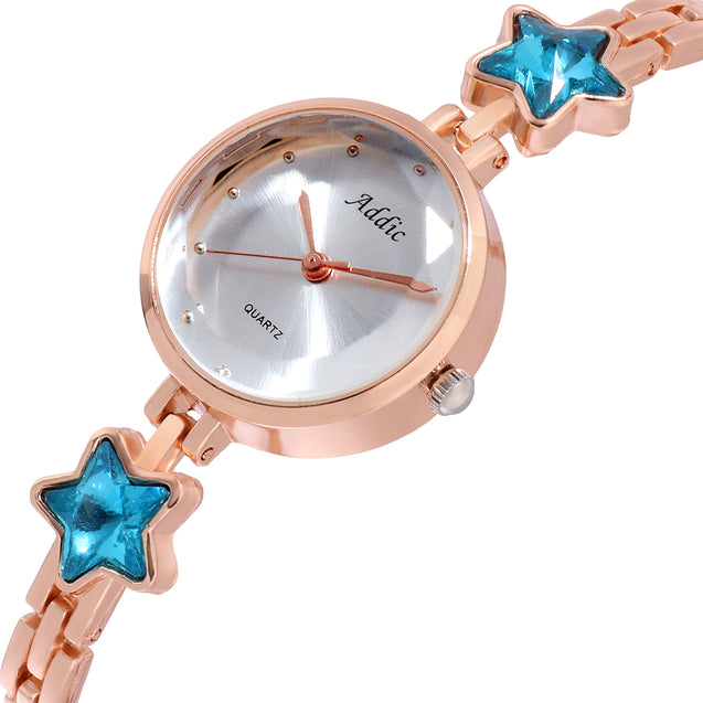 Addic Elegance & Charm Blue Stars Rose Gold Watch For Women & Girls