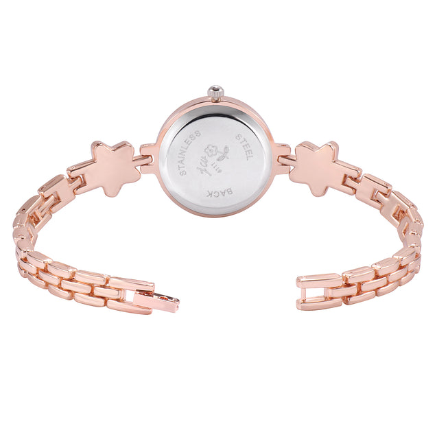 Addic Elegance & Charm Silver Stars Rose Gold Watch For Women & Girls
