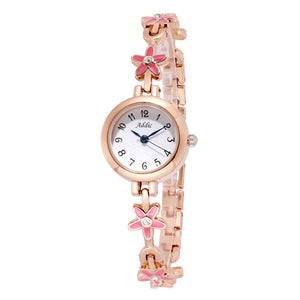 Addic Pink Blossoms Plush Rose Gold Watch For Women & Girls