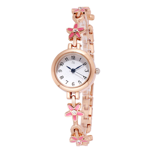 Addic BL Pink Blossoms Plush Rose Gold Watch for Women & Girls