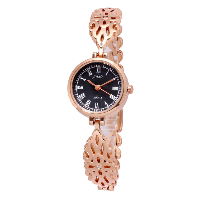 Addic Intricately Carved Traditional Royal Design Rose Gold Watch For Women & Girls
