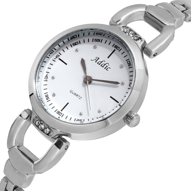 Addic Bold Blocks Beautiful & Brash Silver White Dial Wrist Watch For Women & Girls