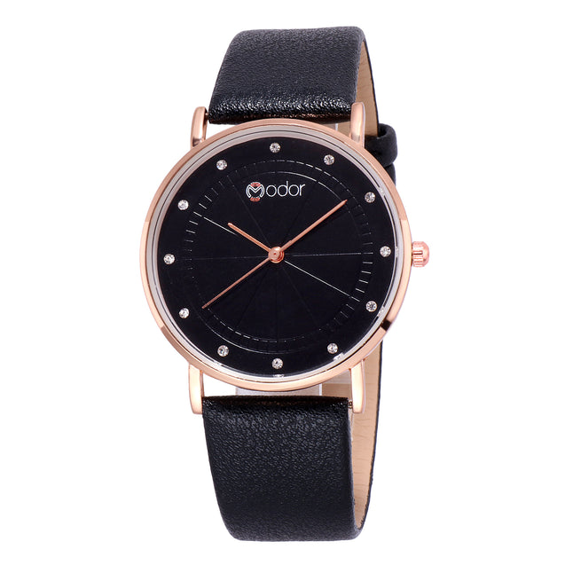 Modor Minimalist Black Fashionista's Watch For Women & Girls