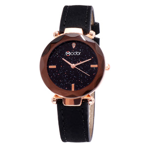 Modor Queen of Crystal Black Sparkly Dial Watch For Women & Girls