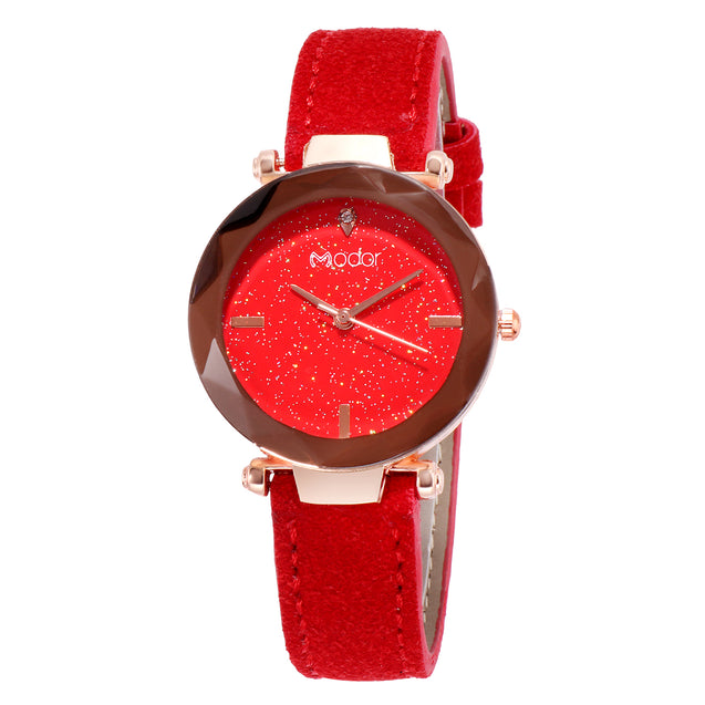 Modor Queen of Crystal Red Sparkly Dial Watch For Women & Girls