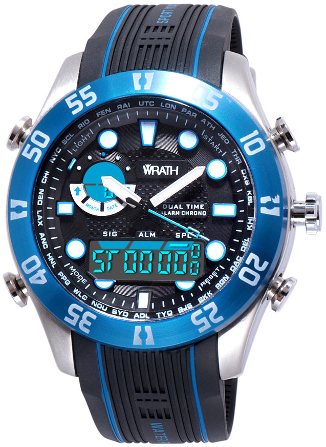 Wrath Blockbuster Blue Analog & Digital Luxury Watch For Men & Boys