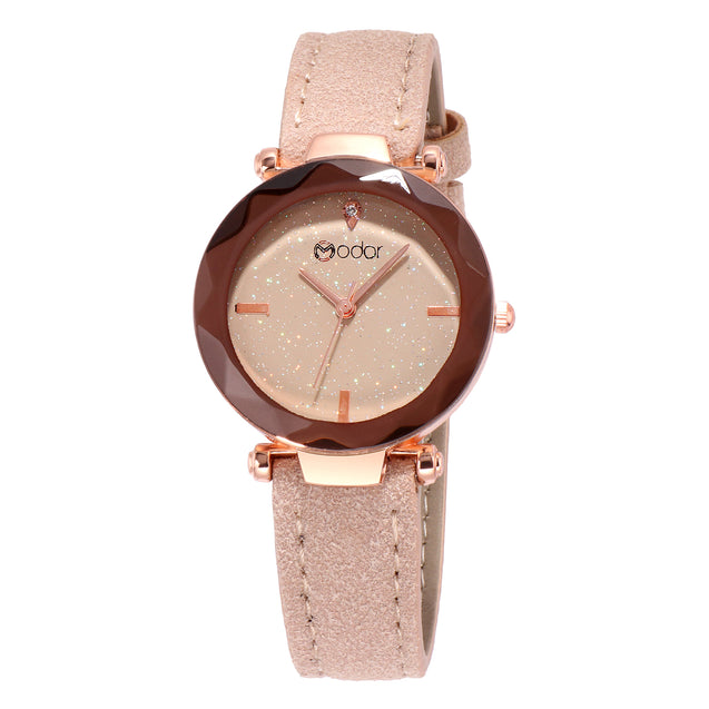 Modor Queen of Crystal Peach Sparkly Dial Watch For Women & Girls