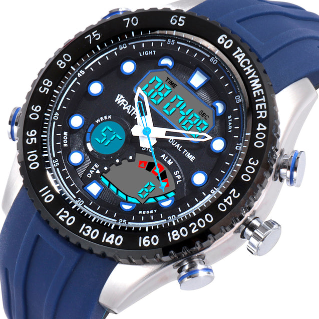 Wrath Bold Blue Diver's Analog & Digital Luxury Watch For Men & Boys