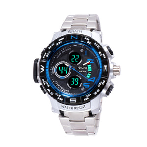 Wrath Luxury Singularity Analog & Digital Blue Luxury Metal Chain Wristwatch For Men & Boys