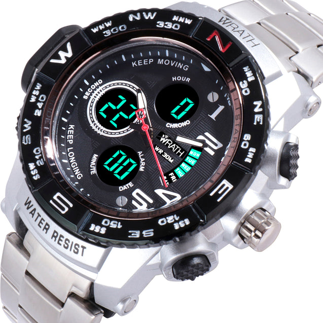 Wrath Luxury Singularity Analog & Digital Black Luxury Metal Chain Wristwatch For Men & Boys