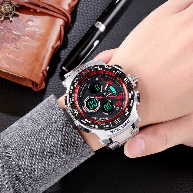 Wrath Luxury Singularity Analog & Digital Red Luxury Metal Chain Wristwatch For Men & Boys