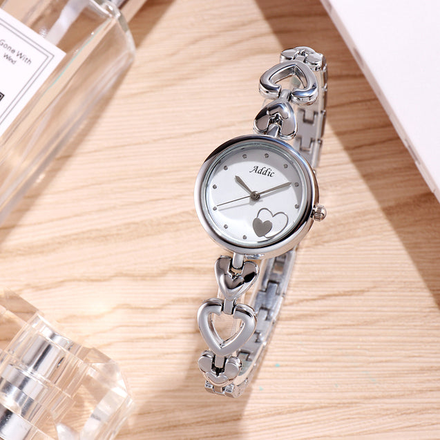 Addic Hearts In Love Silver Watch For Women & Girls